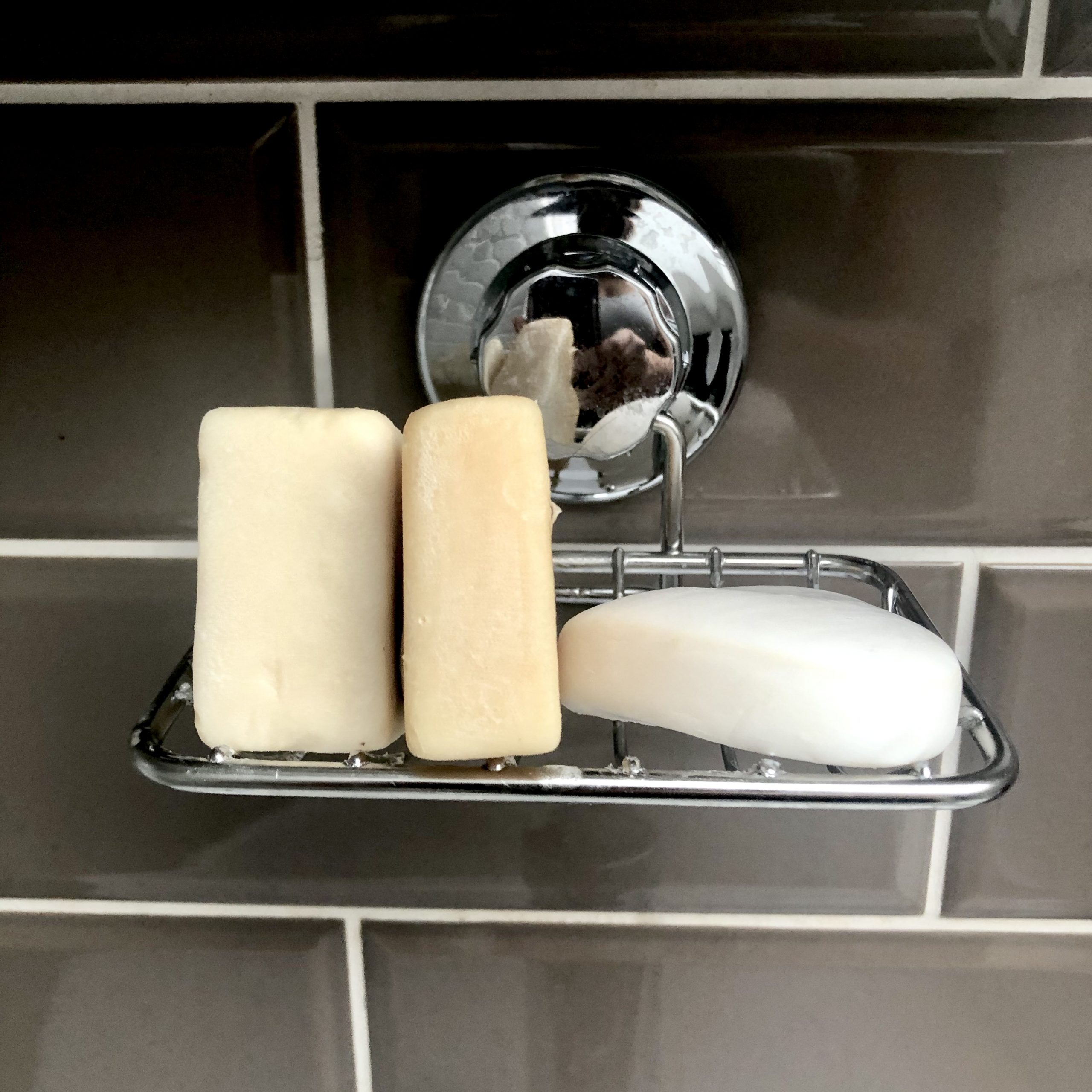 Soap holder with soap three bars of soap